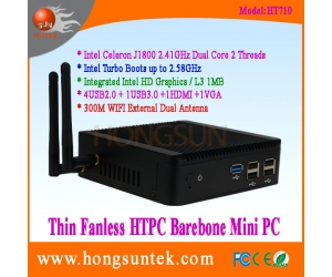 HT710 Intel Celeron J1800 2.41GHz Dual Core 2 Threads Processor Fanless Barebone Mini PC