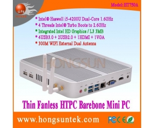 HT750A Intel Haswell i5-4200u 1.60GHz Dual Core with 4 Threads Intel Turbo Boots to 2.6GHz Fanless Barebone Mini PC